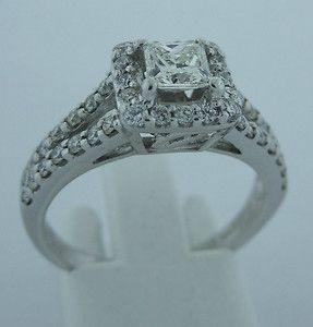 Helzberg 18k White Gold Princess Cut 43 carat Center Diamond Ring