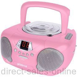 Groov E GVPS713PK Boombox Portable CD Player Radio Pink