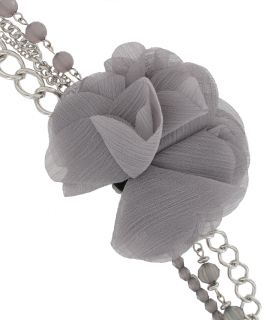 Beaded Smoky Faceted Layered Chains Flower Statement Necklace