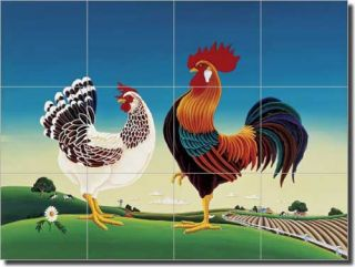 Del Rio Rooster Chicken Art Kitchen Ceramic Tile Backsplash 17x12 75