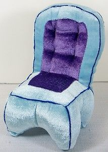 Miniature Furniture Plush Overstuffed Armless Chair Blue Purple