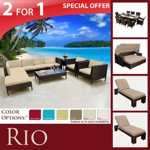 Sofa Outdoor Dining 9pc Set 2 Montego Lounge Chaises Sun Bed