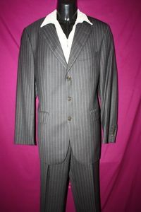 Charles Tyrwhitt Mens Dark Gray Gray Striped Wool Suit Sz 40R 32 Mint