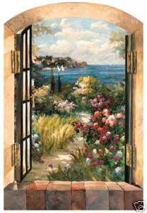 Tuscan Tropical GARDEN BY THE SEA Wallpaper Wall Decor Mural 26X40