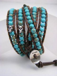 Chan Luu New Turquoise Silver Skulls Brown Leather Wrap Bracelet Dust