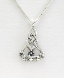 Sterling Silver Celtic Knot Pendant Necklace Claddagh 2