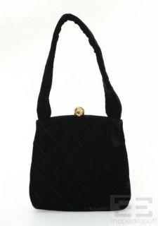 Chanel Black Quilted Velvet Small Frame Handbag