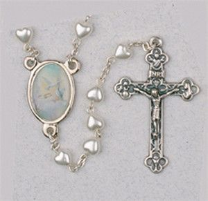 ROSARY WHITE HEARTS WITH DOVES AND RINGS AT CENTER SILVER CROSS ITALY