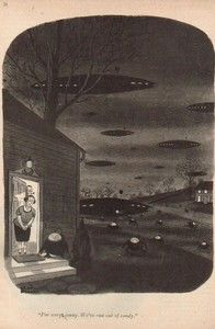 1952 Charles Addams Art UFO Alien Spaceship Halloween 50s The New