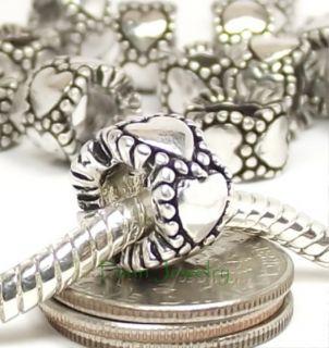 Heart Spacers Large Hole Slider Beads fit European Charm Bracelet C109