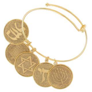 Bangle Charm Bracelet Gold Plated Jewish Hebrew Coin Torah Menorah