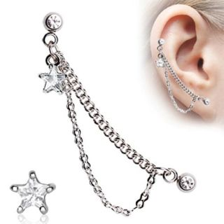 16 Star Double Chained Cartilage Ring Dangling Stud Earring A82