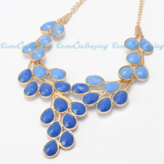 Fashion Golden Chain Water Drop Blue Resin Beads Crotch Pendant