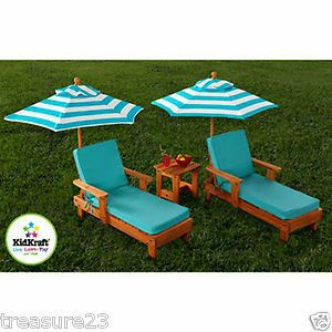 KidKraft Solid Wood Chaise Lounge Umbrella Patio Furniture