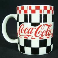 Coca Cola Gibson Mug 1996 Red Black White Checkerboard