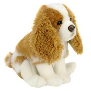 Toys R Us Plush 11 inch King Charles Spaniel   Tan and White