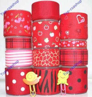 Ribbon Lot Red 3 8 1 5Apple Love Heart Zebra Grain Mix Dot