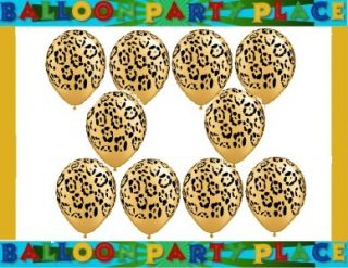 Leopard Print Set 10 Latex Balloons Black Gold Animal Print Party