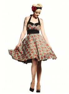 Plus Size Rockabilly Charlie Dress in Leopard and Red Rose Print Party