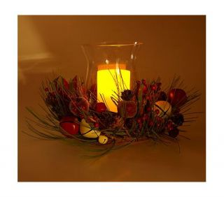 Wreath w Flameless Candle Hurricane Globe by Valerie Parr Hill
