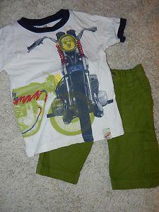 Charlie Rocket Motorcycle Tee and Green Shorts 3T