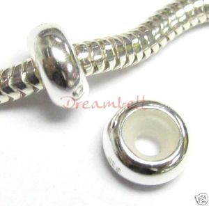 Silver Ring Stopper Rubber F European Bead Charm Bracelets
