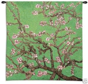Cherry Blossom Tree Asian Green Wall Hanging Tapestry