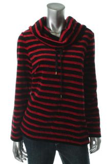 Jones New York New Multi Color Striped Velour Cowl Neck Pullover Top