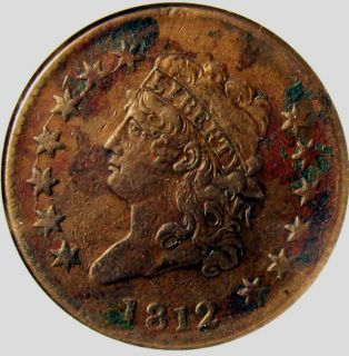 1812 Large Cent Penny Copper ANACS Certified Liberty Head Old Coin