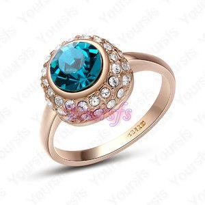 18K Gold Plated Jewelry Use Swarovski Crystal 18K GP Bluezircon
