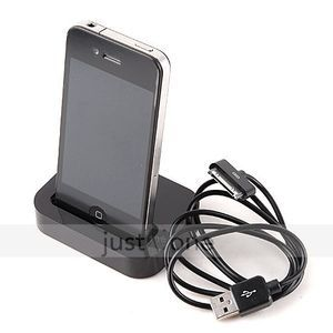 Charger Dock Cradle & USB Data/ Charging Cable for iPhone 3G 3GS 4 4S