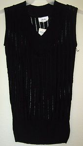 Chesley V Neck Semi Sheer Ribbed Knit Stretch Tank Top Tunic Sweater