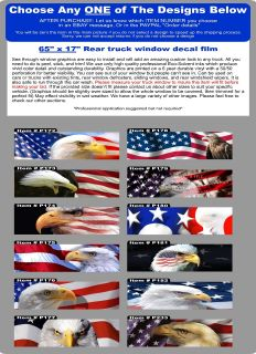 American Flag Eagle Universal Window Tint Graphic Decal Pickup Truck