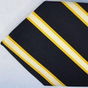 100 new BATTISTI NAPOLI tie navy yellow stripe special back pocket