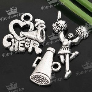 30x Mix Tibetan Silver Cheerleader Cheer Up Charm Beads for Jewelry