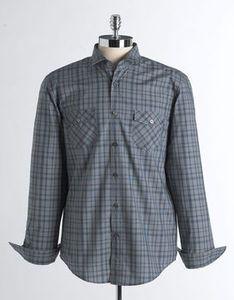 Mens Slim Fit Button Front Marvel L s Check Sport Shirt Size XL