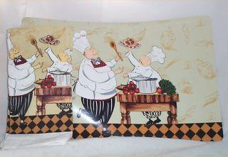Chef Vinyl Placemats 2 Matching Kitchen Towels Bistro Kitchen