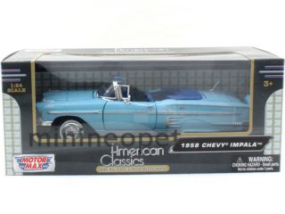 Motormax 73267 1958 58 Chevy Impala Convertible 1 24 Diecast Light
