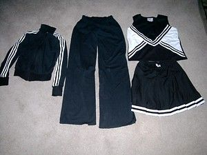 Large Lot Cheerleading Uniforms Skirts Tops Pants Jackets Black White