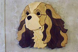 Cavalier King Charles Spaniel Dog Intarsia Wall Plaque