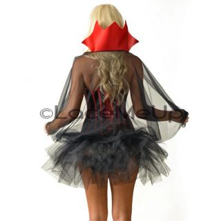 Vampire Costume Black Corset Petticoat Tutu Skirt 6 16