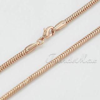 5mm Width Mens Boys Rose Gold Filled Snake Link Chain Necklace