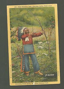 Cherokee Indian Chief Standing Deer with Bow & Arrow Native American