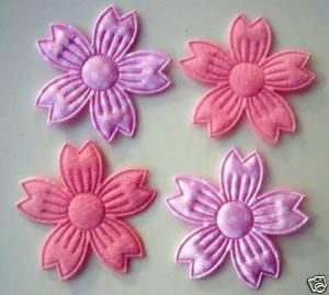 50 Pink Cherry Blossom Felt Flower Applique Satin H237