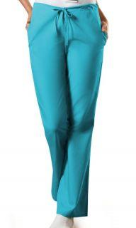 New Cherokee WorkWear 4101 Turquoise Drawstring Flare Leg Scrub Pants