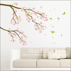 Pink Cherry Blossom Flower Home Decor Mural Art Removable Wall Sticker