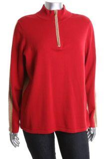 Jones New York New Red Long Sleeve Gold Trim 1 2 Zip Sweater Plus 2X