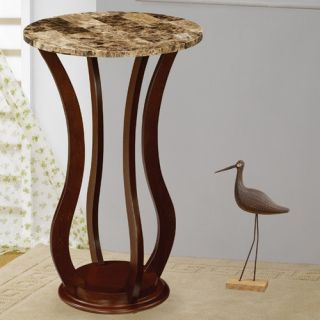 Ferron Faux Marble Top Pedestal Plant Stand in Cherry 900926