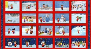 Christmas Time Quilt Fabric Panel Peanuts Charlie Brown 23 5