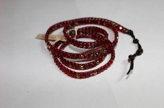 CHAN LUU Red Swarovski Crystal Wrap Bracelet on Black Leather